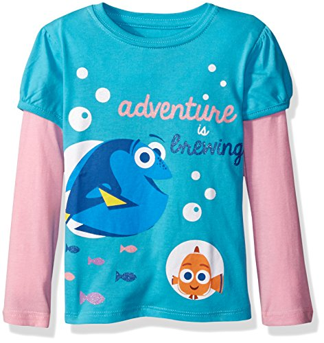 Disney Girls Toddler Girls Finding Dory Long Sleeve Two-Fer T-Shirt with Sleeves