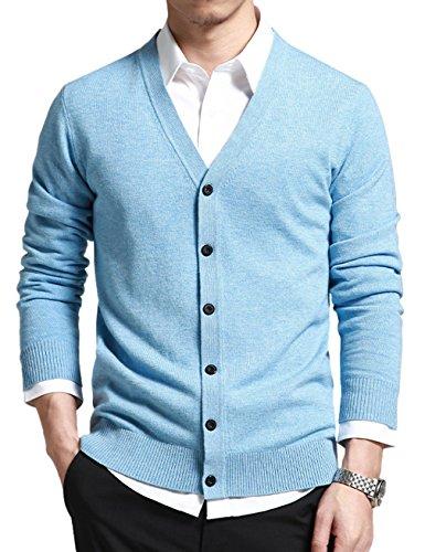 Gameyly Men's V-Neck Button Down Wool Golf Cardigan Sweater XL Light Blue
