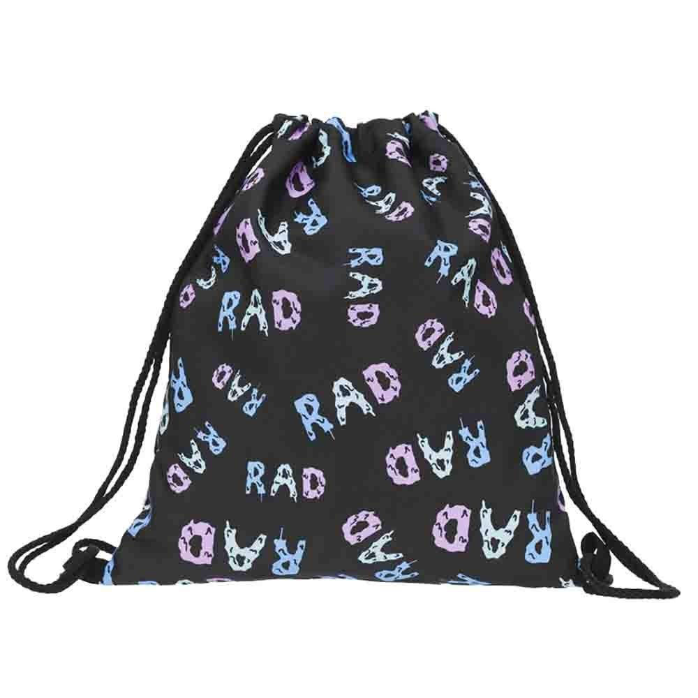 Shybuy Non-Woven Drawstring Bag Stylish Printed Lightweight Gym Sackpack Yoga Gym Swimming Cinch Pack (A, 11.8(L) x0.8(W) x15.4(H)'')