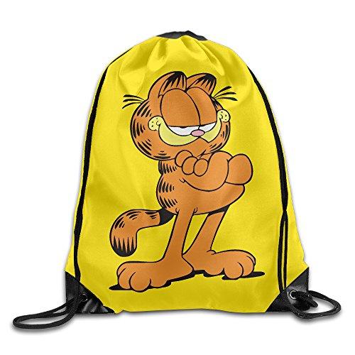 Unisex Cute Garfield Drawstring Bag Drawstring Backpack Sport Bag Gym Bag 100% Polyester Material Travel Bag For Men Women (Draw Garfield)
