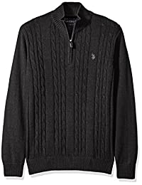 U.S. Polo Assn. Mens Cable Knit 1/4 Zip Sweater Polo Sweater