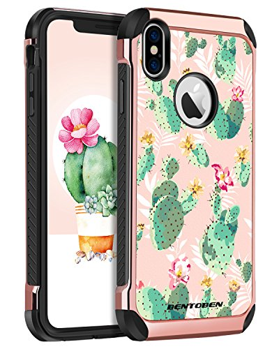 iPhone Xs Case (2018), iPhone X Case, BENTOBEN Shockproof Tropical Cactus Floral Design Phone Cases Hard PC Soft Bumper Protective Girls Women Cover for Apple iPhone Xs/X / 10, Cute Rose Gold/Green