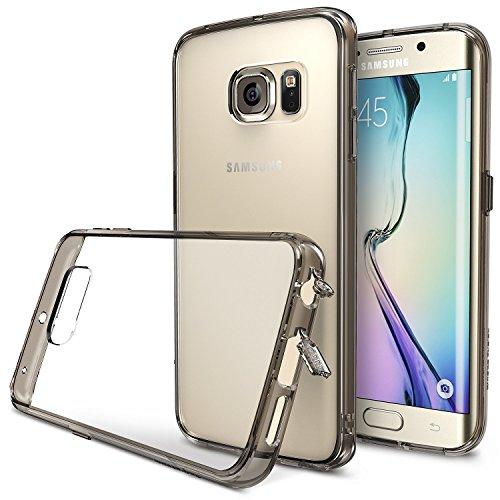 協同流星定刻Galaxy S6 edge (SC-04G)/(SCV31) ケースRearth Ringke Fusion(2015モデル国内正規品)ストラップホール付 衝撃に強い! ホコリキャップ (Smoke Black)