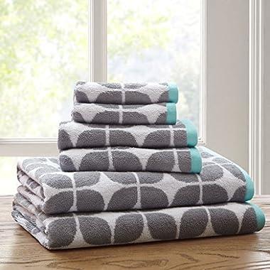 Intelligent Design Elena Cotton 6-Piece Jacquard Towel Set, Grey