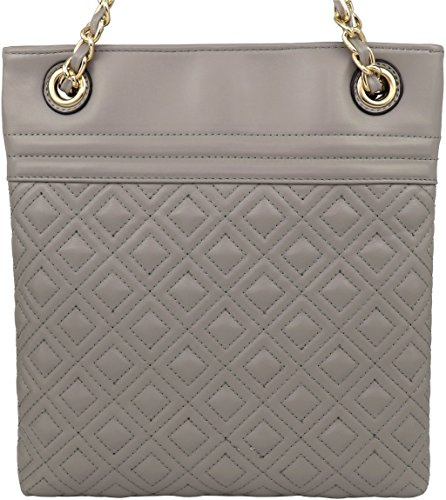 Crossbody amp; Purse B with Chain Handbag Medium Quilt Tassel Vegan Double BRENTANO Gray Accent Strap Stitch wYFwA