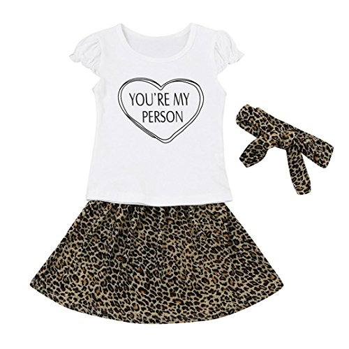 Three Person Halloween Costume Ideas (Newborn Baby Girls Letter Tops Shirt Leopard Skirt Set Suit Outfits Clothes 3 Pcs by CSSD (12M, White))