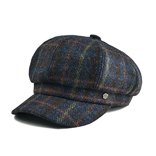 VOBOOM Womens Visor Beret Newsboy Hat Cap for Ladies 100% Wool Tweed (Navy)