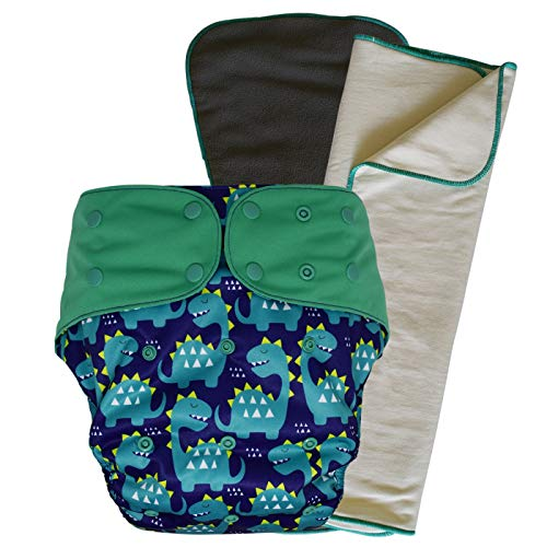 Cloth Diaper Cover Set - Reusable Special Needs Incontinence Briefs with Bamboo Inserts for Big Kids, Teens and Adults (Dinosaur, Extended)
