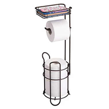 mDesign Freestanding Metal Wire Toilet Paper Roll Holder Stand and Dispenser with Storage Shelf for Cell, Mobile Phone - Bathroom Storage Organization - Holds 3 Mega Rolls - Bronze