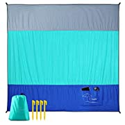 #LightningDeal OCOOPA Beach Blanket Sand Free Oversized, Soft Lightweight Pocket Blanket, Waterproof Outdoor Picnic Mat for Beach, Camping, Hiking, Music Festival, Machine Washable