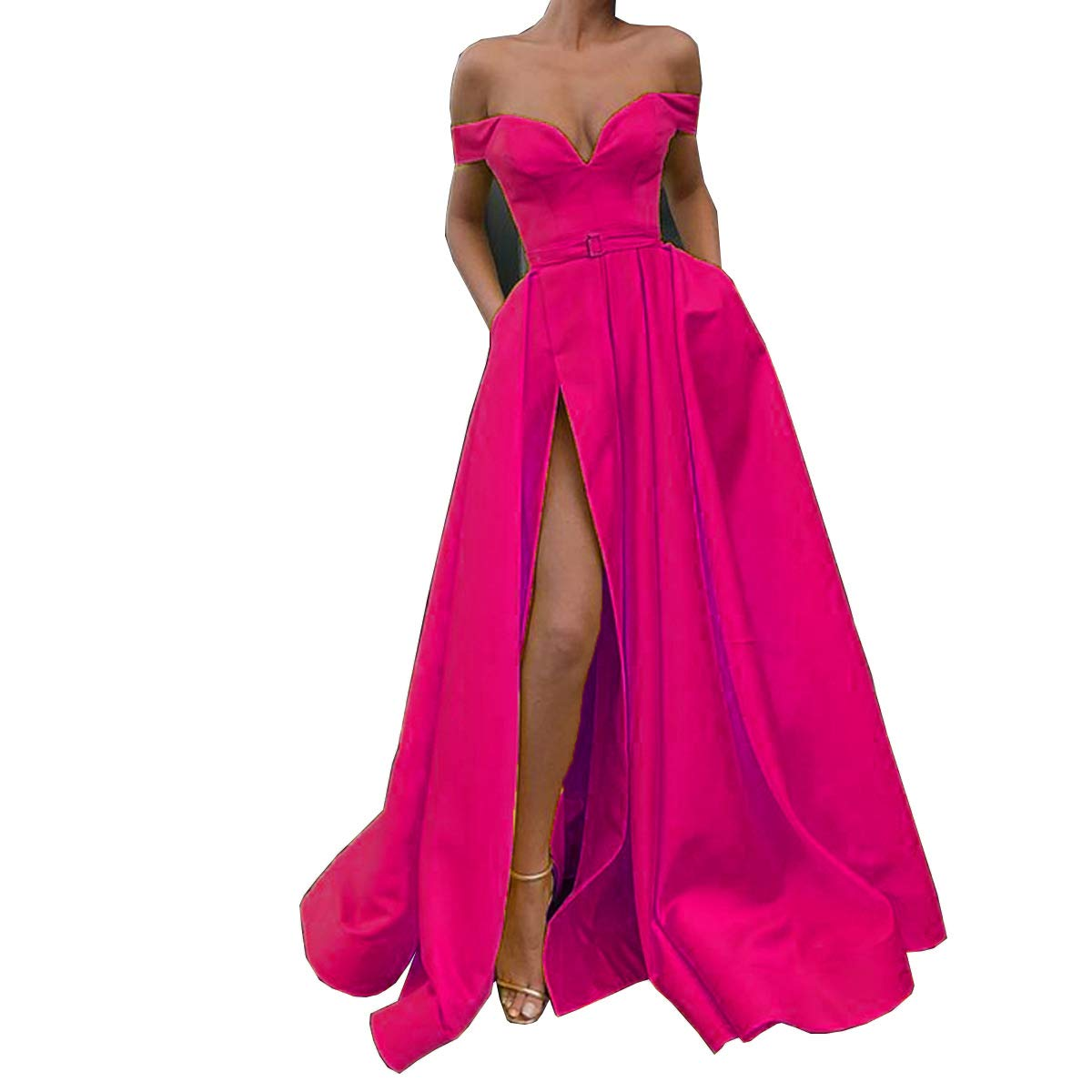 Fushia CCBubble Womens Long Satin Prom Dresses Off Shoulder High Slit Formal Evening Wedding Party Dress