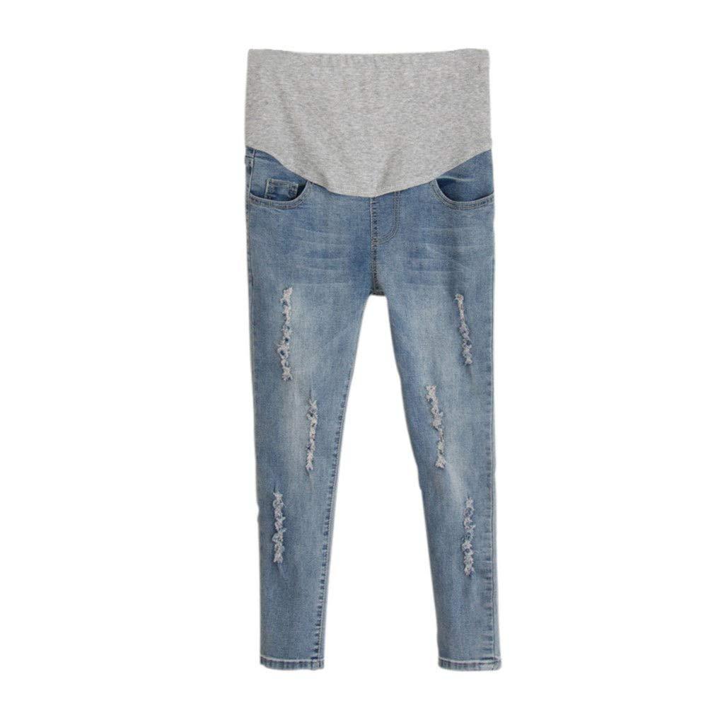 Hzjundasi Estate Maternità magro Jeans strappati Gravidanza copertura del ventre Pantaloni morbido Jeggings