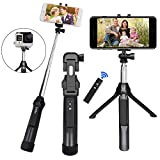 Selfie Stick Tripod, PEYOU [3 in 1] Bluetooth Selfie Stick Extendable Monopod Tripod Stand Wireless Remote Shutter Compatible for Gopro Camera/iPhone X/8/7/6 Plus/Samsung Galaxy Note 8/S9/S8 Plus/S7