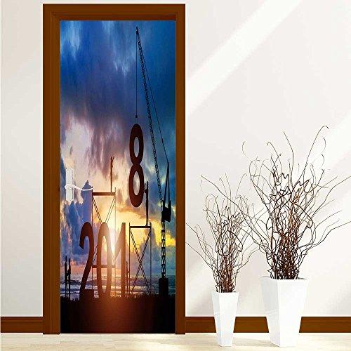 Printsonne Art Door Decals Team work together to build the future for Door/Bathroom/Office W32 x H80 INCH