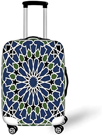 Travel Luggage Cover Suitcase Protector,Arabic,Mandala Inspired Arabesque Floral Figure Oriental Antique Decor Decorative,Dark Blue Olive Green Black,for Travel S