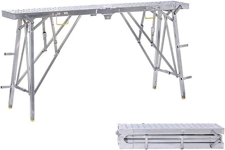QARYYQ ? Escalera telescópica hogar Plegable Subir y Bajar Plataforma Gruesa ingeniería decoración portátil Caballo Taburete Andamios Taburete (Size : 160cm*25cm)