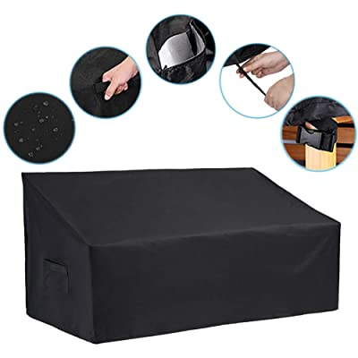 """Patio Loveseat Cover - 420D Outdoor Sofa Cover Patio Couch Cover with Drawstring Hem + 4 Click-Close Straps, Waterproof Outdoor Loveseat Cover Outdoor Patio Furniture Covers (55"""" L x 38"""" D x 35"""" H): Garden & Outdoor"""