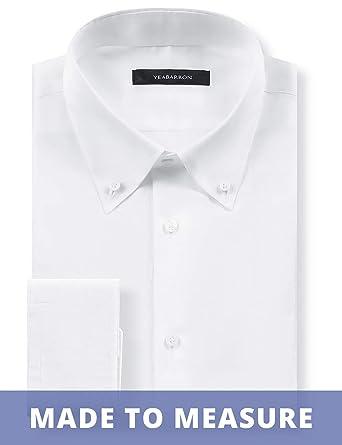 ece599cf895 YEABARRON Men s Custom Made Tailored Fit Monogrammed Long Sleeve Dress Shirt  (High-End Custom