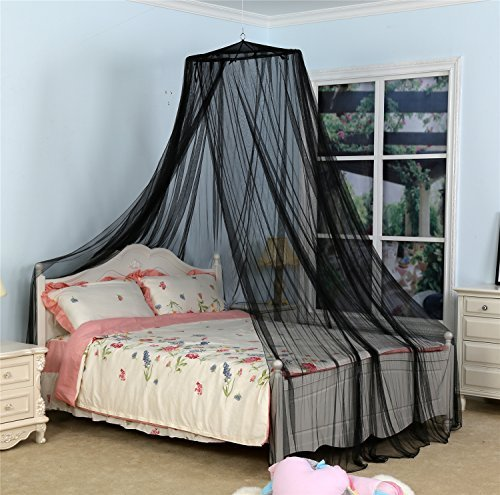 South To East Circular Mosquito Netting Diamond Canopy for Indoor/Outdoor, Camping or Bedroom Fit A King Size Bed(Black)