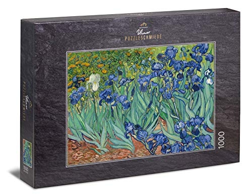 Ulmer Puzzleschmiede - Puzzle Van Gogh, Irisis - Puzzle de 1000 Piezas - Lirios Frente a un Colorido Prado de Flores (Van Gogh, Saint-Remy, 1889)