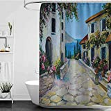 shower curtains beach Lakehouse Decor Collection,Vintage Houses in an Ancient Village near the Sea with Colorful Plants Around Oil Painting,Mustard Blue Ivory Green W72' x L72',shower curtain for claw