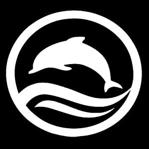 Dolphin Jumping Vinyl Decal Sticker | Cars Trucks Vans Walls Laptops Cups | White | 5.5 inches | KCD1499