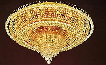 FRENCH EMPIRE CRYSTAL FLUSH CHANDELIER LIGHTING H 19 W 39
