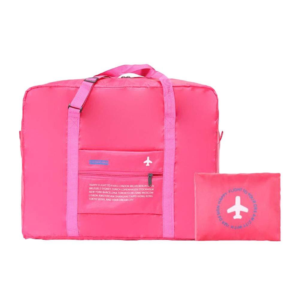LIOOBO Polyester Sac de Voyage Portable imperm/éable Grande capacit/é l/éger Pliable Sac /à Main Pliable Bagages Sac de Sport pour Le Shopping de Remise en Forme Rose Rouge