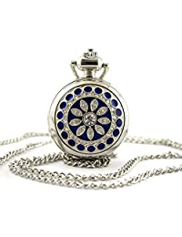 Youyoupifa Women's Stainless Steel Hunter-case Necklace Pendant Pocket Watch (Blue)