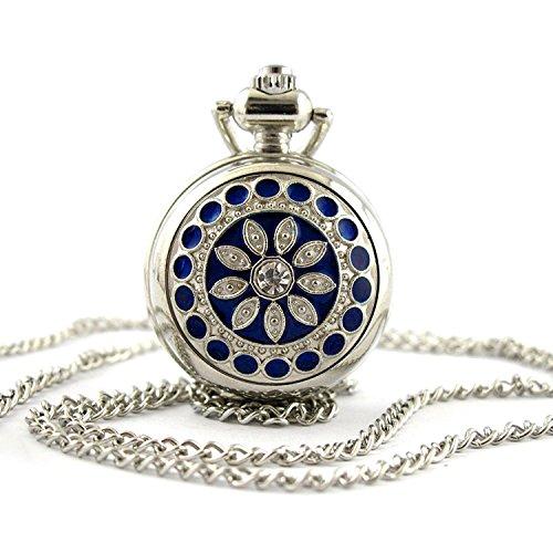 Youyoupifa Fashion Blue Flower Pattern Pattern Silver Small Pocket Watch