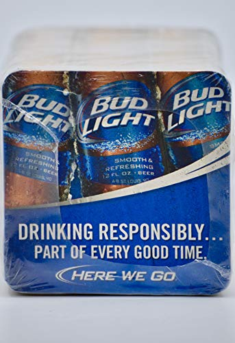 2013 - Anheuser-Busch Inc - Bud Light Cardboard Coasters - Wrapped Set of 125 - For Home Bar/Man Cave/Tavern - Party Tips - Collectible