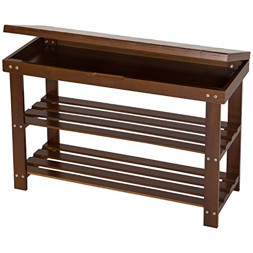 Ollieroo Shoe Rack 2 Tier Natural Bamboo Shoe Bench Organizer, Foot Stool Storage Drawer on Top ()