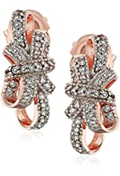 18k Rose Gold over Sterling Silver Created White Sapphire Bow Earrings