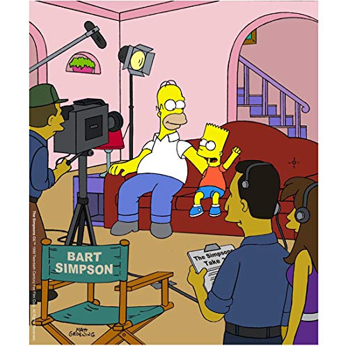- Homer Simpson 8 inch x 10 inch Photograph The Simpsons (1989 -) Sitting on Couch w/Bart Filming Show kn