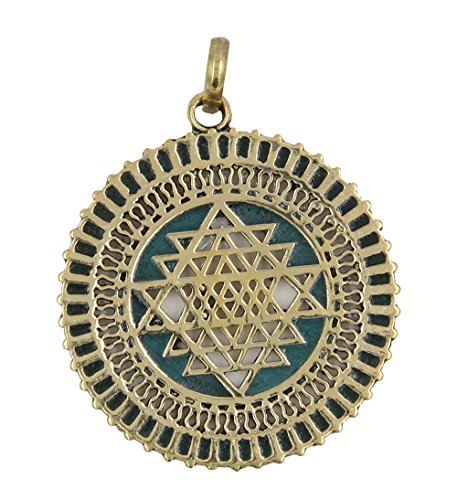Pendant Talisman Protection (Dharmaobjects Shri Yantra Chakra Talisman Protection Good Luck Magic Multi Stone Color Inlay Brass Pendant Necklace (Green))