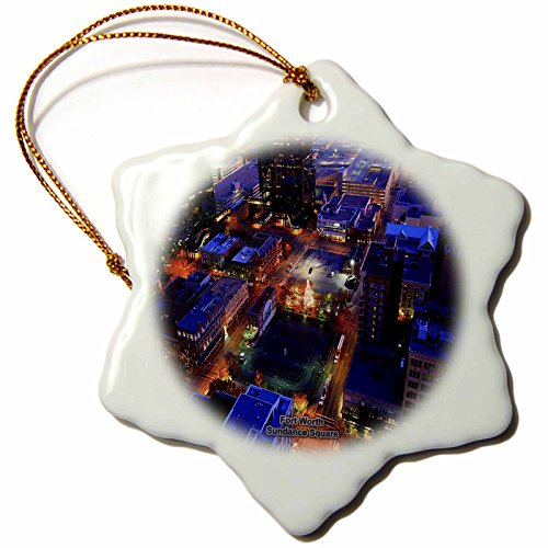 3dRose Sandy Mertens Texas - Fort Worth Sundance Square - 3 inch Snowflake Porcelain Ornament - Square Fort Sundance Texas Worth