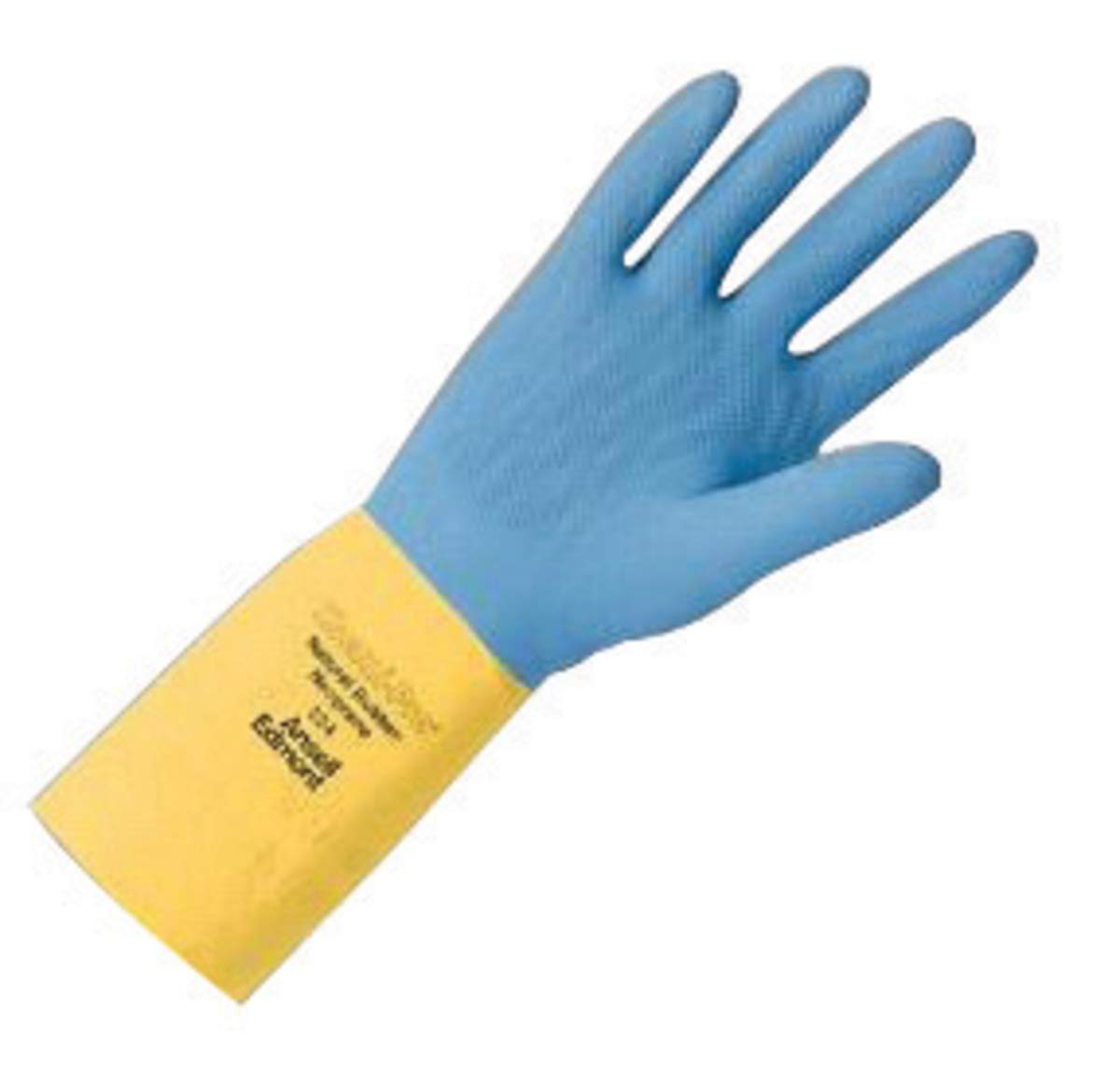 Ansell Size 9 Blue/Yellow Chemi-Pro Cotton Flock Lined 27 mil Natural Rubber Latex And Neoprene - Pack of 12