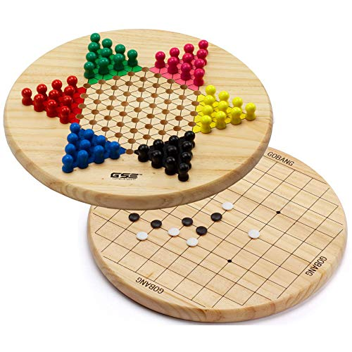 2-in-1 Wooden Chinese Checkers & Gobang (Five in a Row) Family Board Game Combo ()