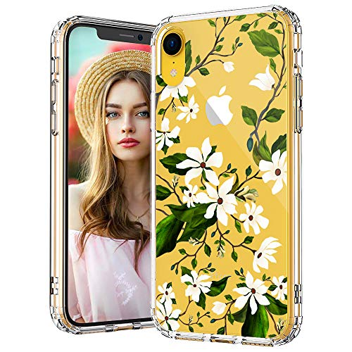 Design Hard Phone Case - MOSNOVO iPhone XR Case, Clear iPhone XR Case, Magnolia Floral Flower Pattern Clear Design Transparent Plastic Hard Back Case with Soft TPU Bumper Protective Case Cover for Apple iPhone XR