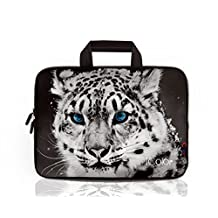 "iColor Snow Leopard 9.7"" 10"" 10.1"" 10.2"" Tablet Laptop Neoprene Carrying Bag Sleeve Briefcase Pouch Handle Bag Tote for iPad Air, Kindle Fire HD 10, Lenovo Yoga book, 10.1 Toshiba Encore 2, PolaTab Q10.1, Dell Inspiron Mini 10 IHB10-11"