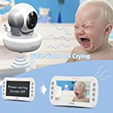 "Axvue E650 Video Baby Monitor with 5.0"" LCD Screen and Pan Tilt Camera, Night Vision, Temperature Detection, Upto 800 and 8 Hours, Two Way Talk, 360/120 Degree for Pan/Tilt"