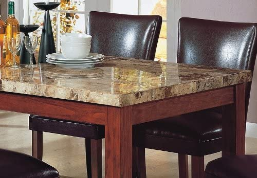 7pcs Granite Top Dining Table 6 Brown Parson Chairs Set Home Kitchen