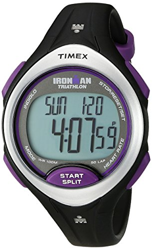 Timex Women's T5K723 Ironman Road Trainer Heart Rate Monitor Black/Silver-Tone/Purple Resin Strap Watch by Timex