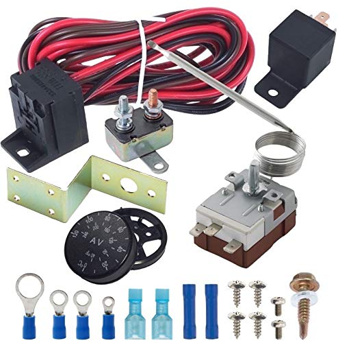 American Volt Adjustable Temperature Electric Radiator Fan Thermostat Sensor Switch Probe Controller Relay Wiring Kit by American Volt
