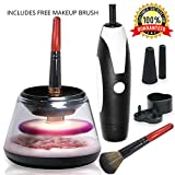 Automatic Makeup Brush Cleaner Dryer - Upgraded 2018 Electric Brushes Cleaner, 360 Spinning Rotation, 2 Powerful Speed Levels, Extra Rubber Holders To Fit Most Size Brushes, Easy To Use By Scuddles