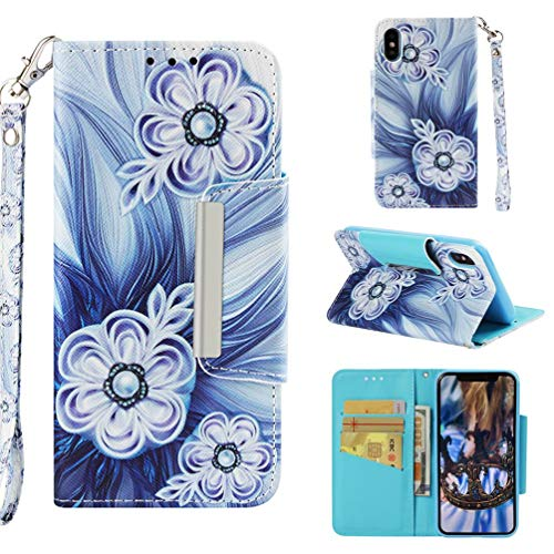 Case for iPhone X/10/Xs,Flip Slim 3D Printing PU Leather Kickstand Card Slots Wallet Case with Wrist Strap & Magnetic Closure Inner Soft Bumper Compatible with Apple iPhone X/10/Xs -Bead Flower