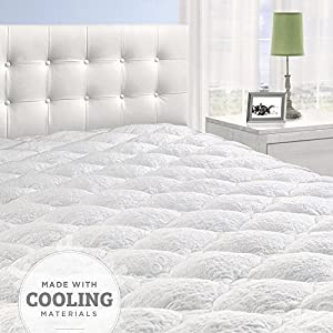 Cooling Overfilled Pillow Top Mattress Pad/Topper with Fitted Skirt, King