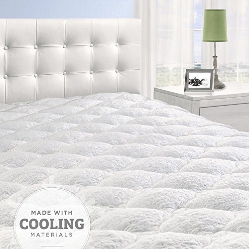Cooling Overfilled Pillow Top Mattress Pad/Topper with Fitted Skirt, Queen