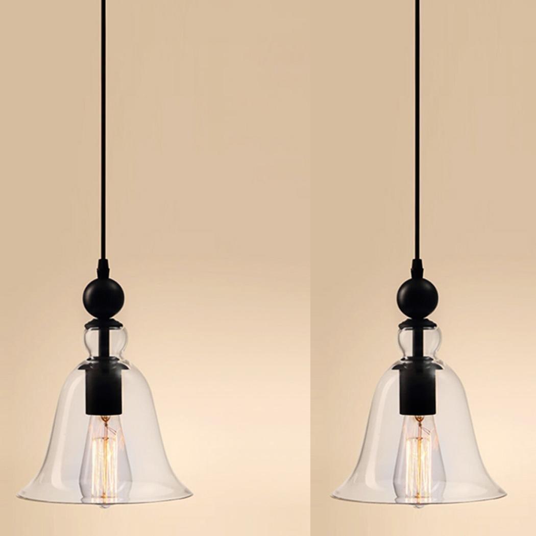 Fashine 1 Light Vintage Style Hanging Big Bell Glass Shade Transparent/Clear Chandelier Ceiling Light Lamp Pendant Lights for Home Dining Room Kitchen Bedroom Cafe Bar Club(US Stock)