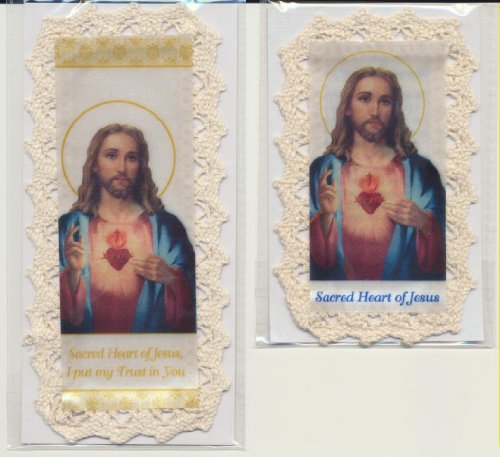 Sacred Heart of Jesus Bookmark Cloth/Lace with Matching Holy Prayer Card